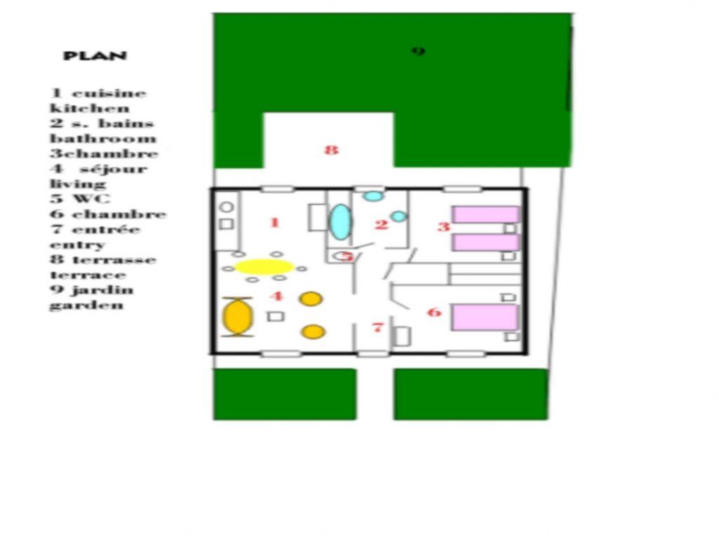 Plan Volets Bleus Sables d'Olonne maison de vacances